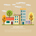 Autumn landscape in a cloudy day. City with yellow trees and rain. Leaf fall. Vector illustration.