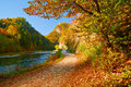 Autumn landscape Dunajec River Gorge Mountains Trees Royalty Free Stock Photo