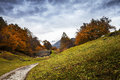 Autumn landscape in engadine switzerland Stock Photos