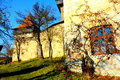 Autumn landscape in fortified church Viscri, Transylvania, Romania Royalty Free Stock Photo