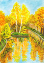 Autumn landscape with island, painting Stock Photo