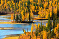 Autumn landscape, Kanas, Xinjiang China Stock Photo