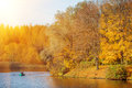 Autumn Landscape. Park in Autumn. The bright colors of fall in t Royalty Free Stock Photo