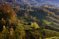 Autumn landscape a peaceful mountain village Stock Photography