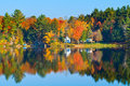 Autumn Landscape with Reflection Stock Images