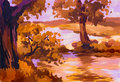 Autumn landscape river acrylic painting sketch Royalty Free Stock Image