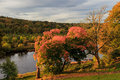 Autumn landscape and river dee in aberdeen scotland uk Stock Photo