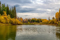 Autumn landscape with river and forest Royalty Free Stock Photography