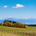 Autumn landscape rural with the blue mountain ridge hawkes bay new zealand Royalty Free Stock Photos