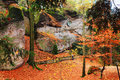 Autumn landscape with sandstone rocks in bohemian paradise colorful Stock Photo