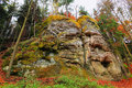 Autumn landscape with sandstone rocks in bohemian paradise colorful Stock Images