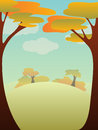 Autumn landscape vector illustration with and copyspace Stock Images