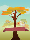Autumn landscape vector illustration with and copyspace Stock Image
