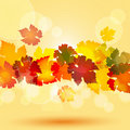 Autumn leaf border and glowing circles Royalty Free Stock Photo
