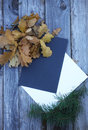 Autumn leaf composition with paper sheets Royalty Free Stock Photo