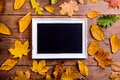 Autumn leaf composition with picture frame. Copy space. Royalty Free Stock Photo