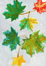 Autumn leafs kid's drawing Royalty Free Stock Photos