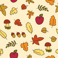 Autumn leafs seamless pattern colored Royalty Free Stock Photos