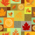 Autumn leaves and abstract berries seamless pattern with different on colorful background with squares vector is eps all elements Stock Photography