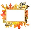 Autumn leaves and acorn border frame with space text on transparent background.