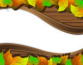 Autumn leaves background on the wooden with place for text Stock Photos