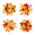 Autumn leaves bouquets. Vector illustration.