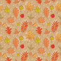 Autumn leaves colorful seamless pattern on rainy background Stock Image
