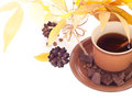 Autumn leaves and cup of coffee breakfast background beans chocolate with Royalty Free Stock Image