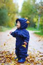 Autumn leaves falling on a baby in a blue suit