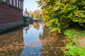 Autumn leaves floating in an old canal Royalty Free Stock Photo