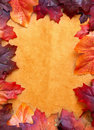 Autumn leaves frame made with Royalty Free Stock Photo