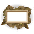 Autumn leaves frame vector with copy space on background Royalty Free Stock Images