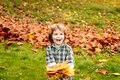 Autumn leaves. Happy child walking in autumn park. Cute boy playing with maple leaves outdoors. Toddler wears Autumn Royalty Free Stock Photo