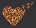 Autumn leaves heart, vector Royalty Free Stock Photos
