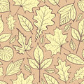 Autumn leaves illustration of seamless pattern with Stock Photo