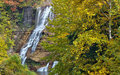 Autumn leaves at Ithaca falls in rural New York Royalty Free Stock Photo