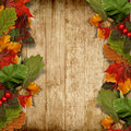 Autumn leaves over wooden background with copy space grungy maple and for text or photo Royalty Free Stock Images