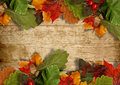 Autumn leaves over wooden background with copy space grungy maple and for text or photo Stock Photo