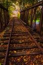 Autumn leaves on a railroad bridge in york county pennsylvania tracks Royalty Free Stock Photo