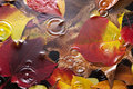 Autumn leaves rain background full of color under water with raindrops and ripples Stock Images