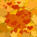 Autumn leaves and red hearts Royalty Free Stock Photo
