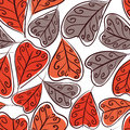 Autumn leaves seamless background floral vector seamless patter pattern hand drawn Royalty Free Stock Photo