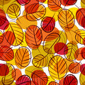 Autumn leaves seamless background floral vector seamless patter pattern hand drawn Royalty Free Stock Photos