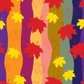 Autumn leaves seamless pattern Stock Photo