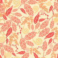 Autumn leaves seamless pattern background vector fall with various hand drawn foliage in warm colors Royalty Free Stock Photo