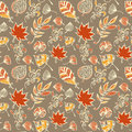 Autumn leaves vector seamless pattern. Botanic background in colors of orange, yellow, beige and grey