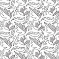 Autumn leaves seamless pattern repeating background in black and white color vector Royalty Free Stock Photo