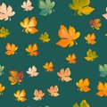 Autumn leaves seamless pattern, vector background. Red, yellow and green maple leaf, For the design of wallpaper, fabric Royalty Free Stock Photo