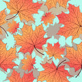 Autumn leaves, seamless pattern, vector background. Yellow orange maple leaf on a blue . For the design of wallpaper Royalty Free Stock Photo