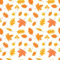 Autumn leaves. Seamless pattern. Vector yellow and orange leaf. Scrapbook, gift wrapping paper, textiles. Hello, october. Color